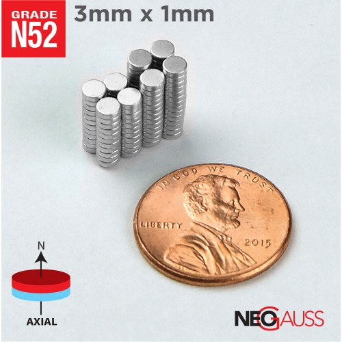"1000pcs 3mm x 1mm 1/8""x1/32"" N52 Strong Disc Neodymium Small Magnets"