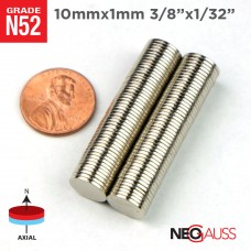 "50pcs 10mm x 1mm 3/8"" x 1/32"" N52 Strong Disc Rare Earth NdFeB Neodymium Small Craft Fridge Thin Magnets"