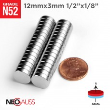 "1000pcs 12mmx3mm 3/8""x1/32"" N52 Disc Neodymium Magnets"