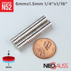 "100pcs 6mm x 1.5mm 1/4"" x 1/16"" N52 Strong Disc Neodymium Small Craft Fridge Magnet"