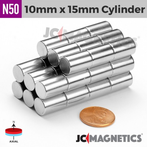 N50 10mm x 15mm 3/8in x 19/32in Cylinder Rare Earth Neodymium Magnet