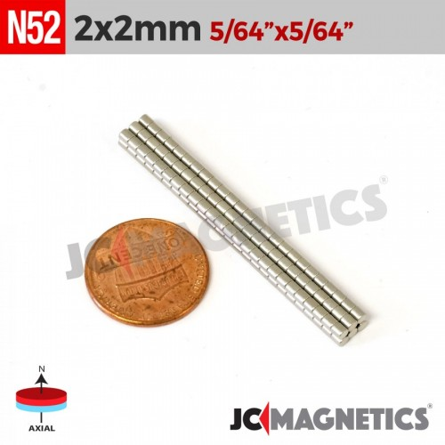 100PCS 2mm X 2mm 5/64IN X 5/64IN N52 Disc Cylinder Rare Earth Neodymium Magnet