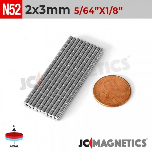 N52 2mm x 3mm 5/64in x 1/8in Disc Rare Earth Neodymium Magnets